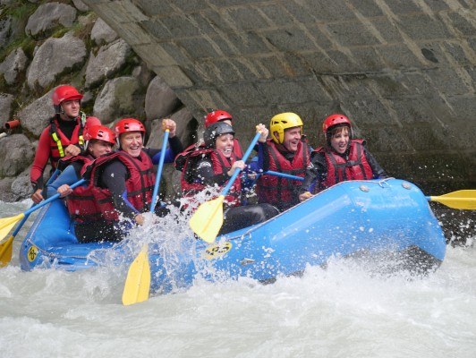 White-water rafting down the River Arve in Chamonix
